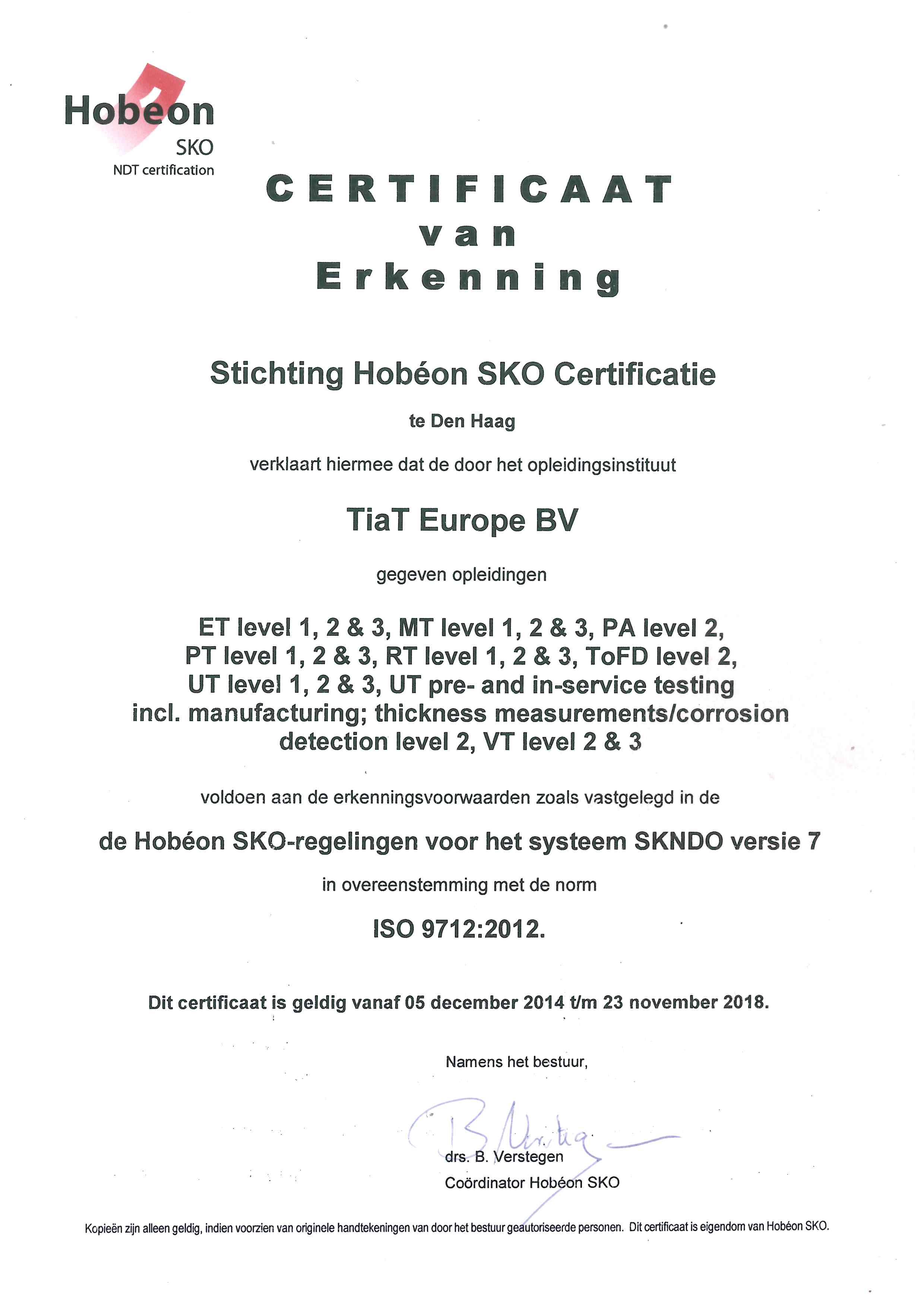 Erkening Opleidingsinstelling - HSKO (ISO 9712)