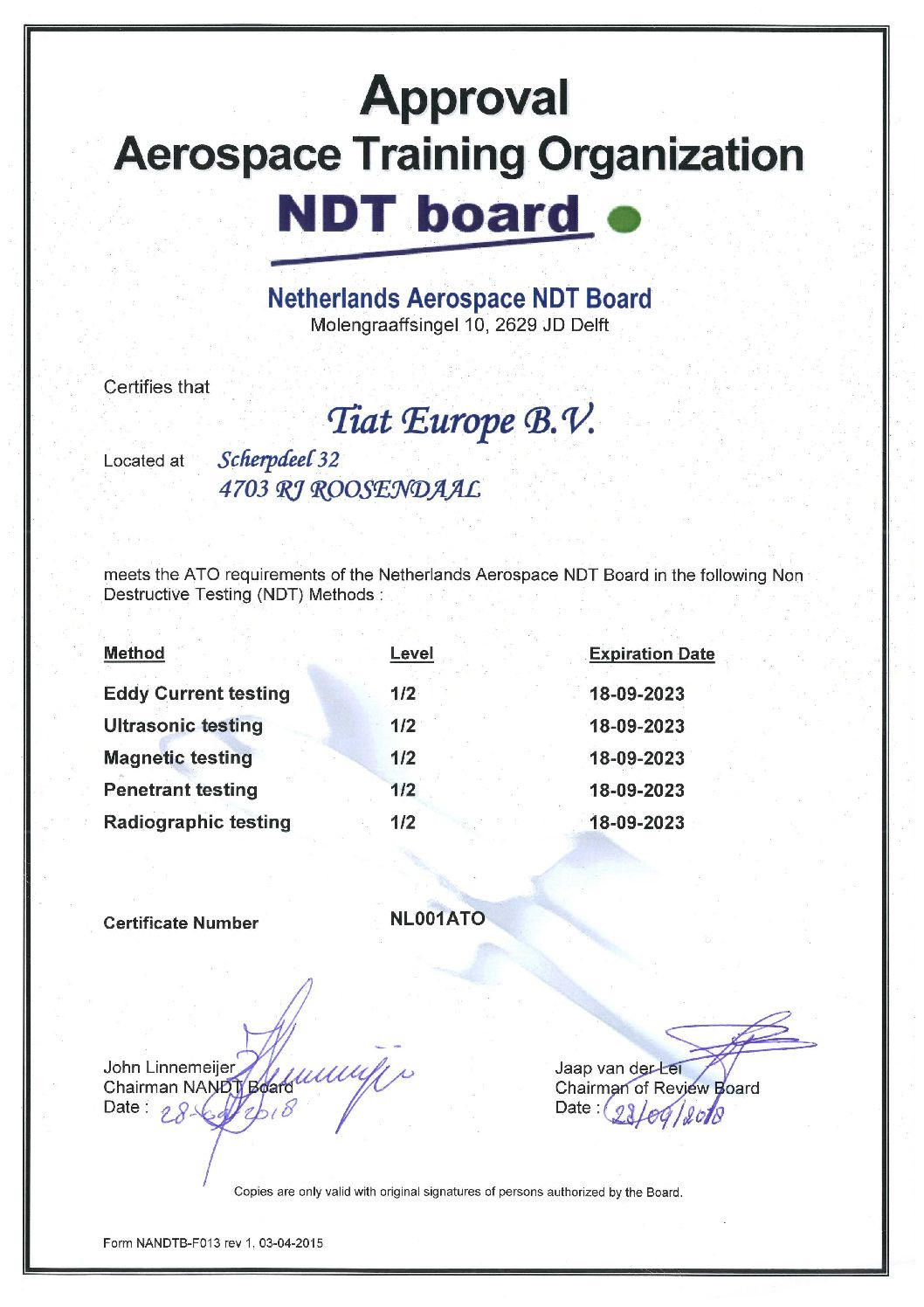 Erkening ATO (AUTHORIZED TRAINING ORGANIZATION) - NDT Board [EN 4179]